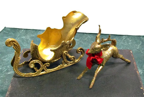 Gold Sleigh and Reindeer Vintage Mid Century Christmas Decor - Attic and Barn Treasures