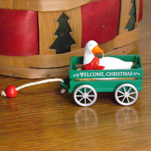 Vintage Christmas Goose in Green Wagon Hallmark Ornament c.1990 - Attic and Barn Treasures