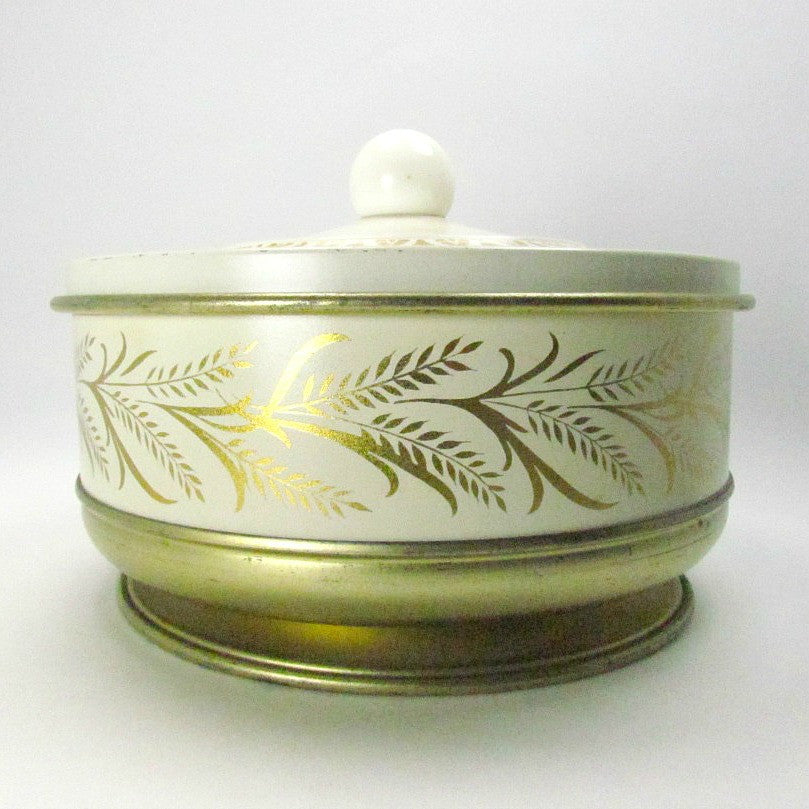 Guildcraft Vintage Metal Gold and Ivory Tin c 1950s - Attic and Barn Treasures