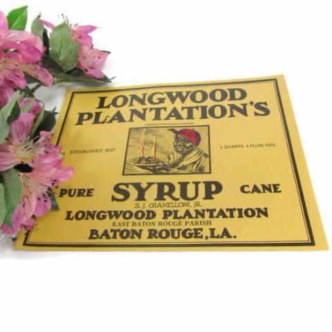 Rare Longwood Plantation's Cane Syrup Label Black Americana - Attic and Barn Treasures