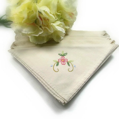 8 Vintage Linen Napkins Hand Made and Embroidered