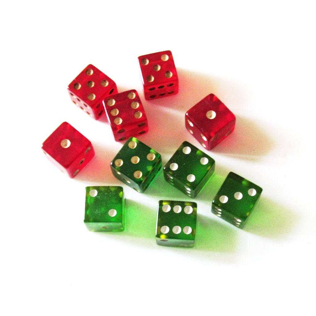 XXXXXX Vintage Red and Green Dice - Attic and Barn Treasures