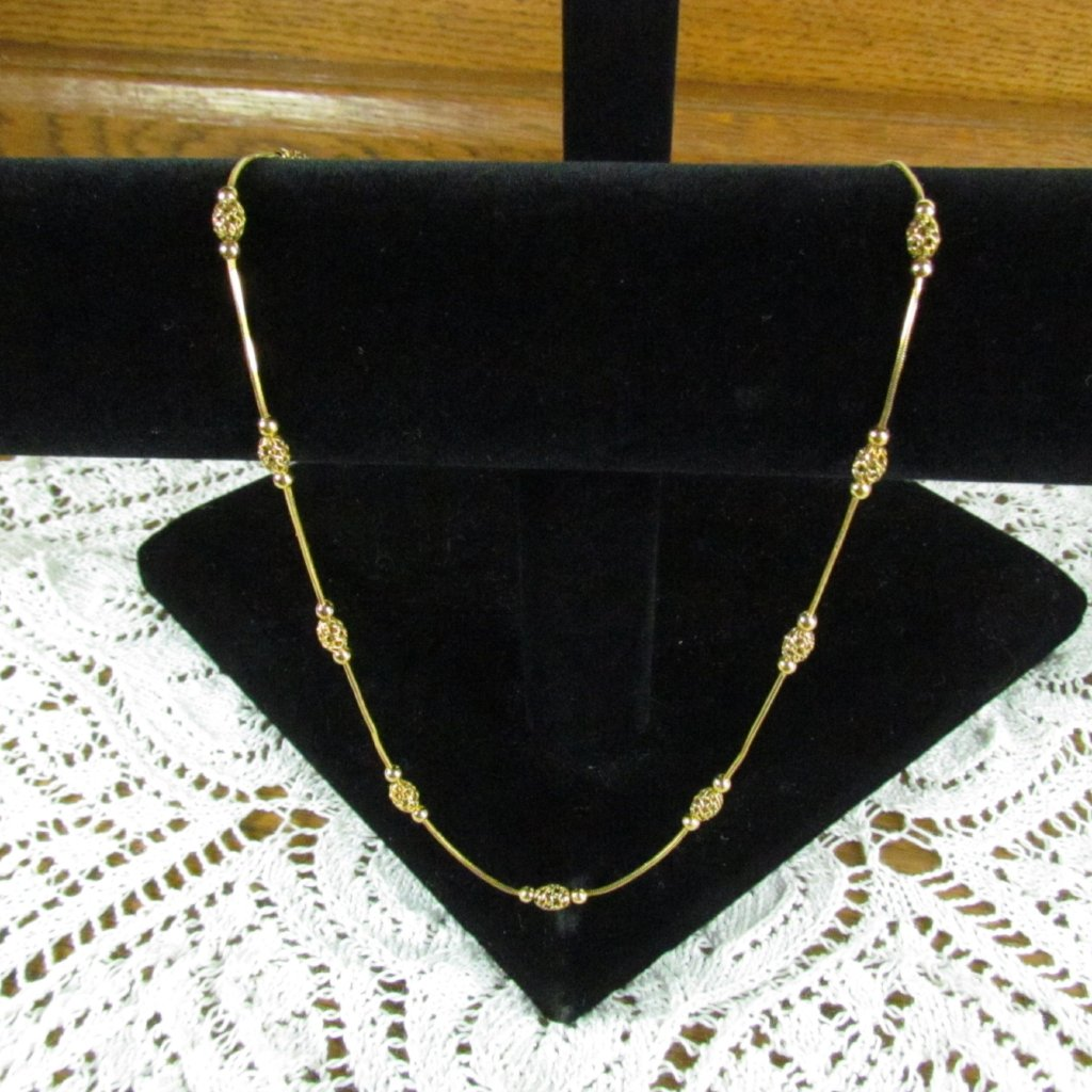 Vintage 14K Italian Gold Necklace with Filigree Beads - Attic and Barn Treasures