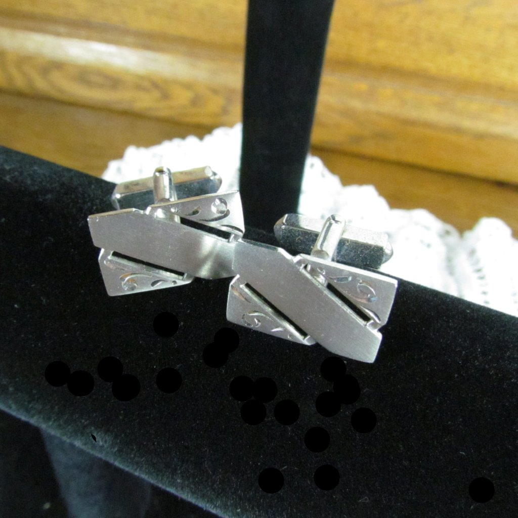 Vintage Swank Sterling Cufflinks Satin Finish with Diamond Cut Detail - Attic and Barn Treasures