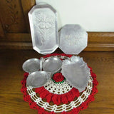 Hand Hammered Vintage Aluminum Trays Party Set