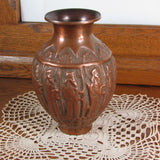 Unusual Vintage Copper Vase King with Subjects motif - Attic and Barn Treasures
