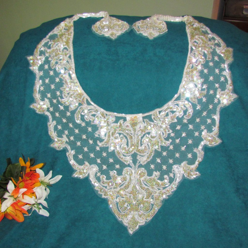 Bead and Sequin Vintage Sharmark Shawl Champagne color - Attic and Barn Treasures