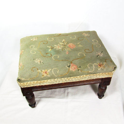 Vintage Square Footstool with Needlepoint and Turned Legs - Attic and Barn Treasures