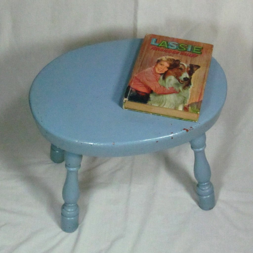 Light Blue Solid Wood Vintage Oval Top Stool - Attic and Barn Treasures