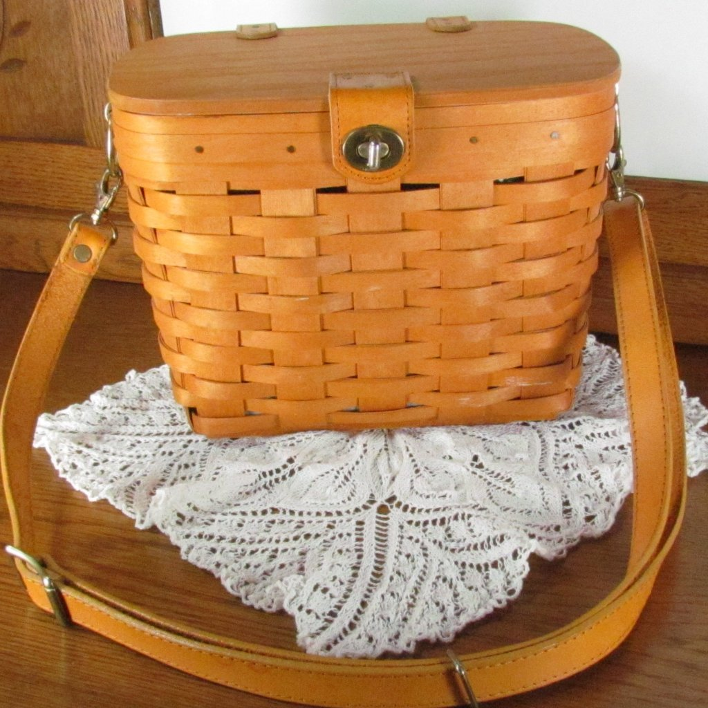 Retired Longaberger Basket Handwoven Purse With Fabric Liner - Attic and Barn Treasures