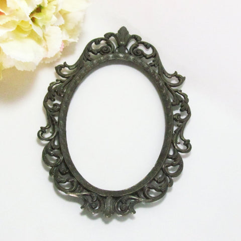 Vintage Italian Made Oval Metal Photo Frame