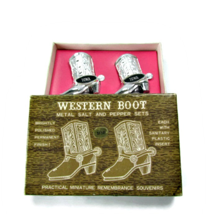 Vintage Iowa Souvenir Boots Salt and Pepper Shakers NIB - Attic and Barn Treasures