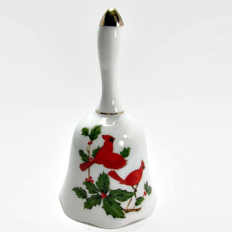 Vintage Lefton Cardinal and Holly Porcelain Bell - Attic and Barn Treasures