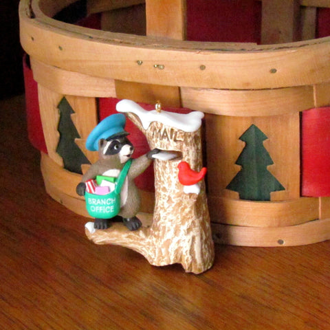 Vintage 1989 Mail Call Hallmark Ornament with Raccoon - Attic and Barn Treasures