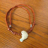 Vintage Choker Necklace with Pottery Manatee and Carved Wood Beads Peruvian c. 1970s - Attic and Barn Treasures