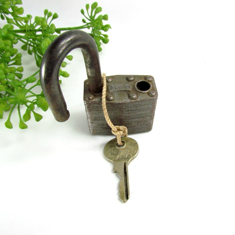 Master Lock Vintage Padlock with Walking Lion Matching Key - Attic and Barn Treasures