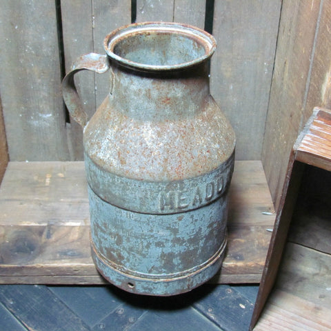 Rare Vintage Meadowmoor Dairies Metal Milk Can with Handle - Attic and Barn Treasures