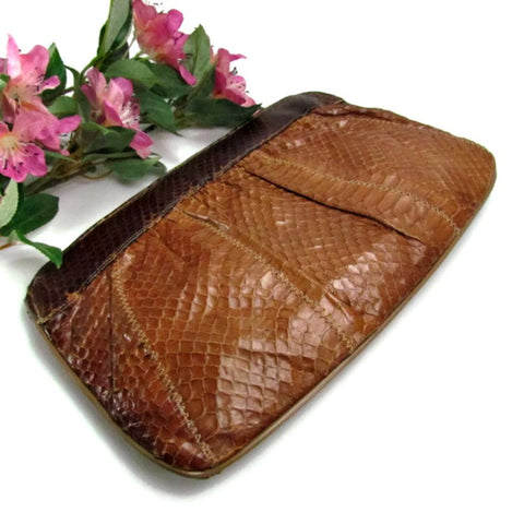 Vintage Genuine Snakeskin Purse with Chain Strap by Mello - Nary New York - Attic and Barn Treasures