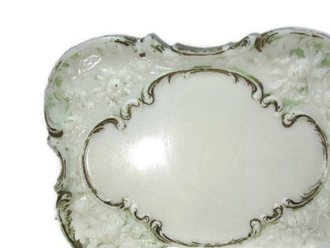Vintage Opaque White and Gilt Vanity Dresser Tray Milk Glass - Attic and Barn Treasures