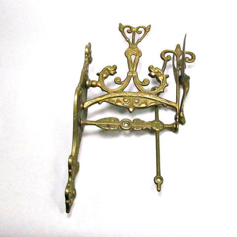 Vintage Ornate Brass Wall Mount Bell Chime Holder - Attic and Barn Treasures