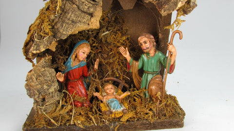 Vintage Manger Nativity Scene Italian Creche Attic And