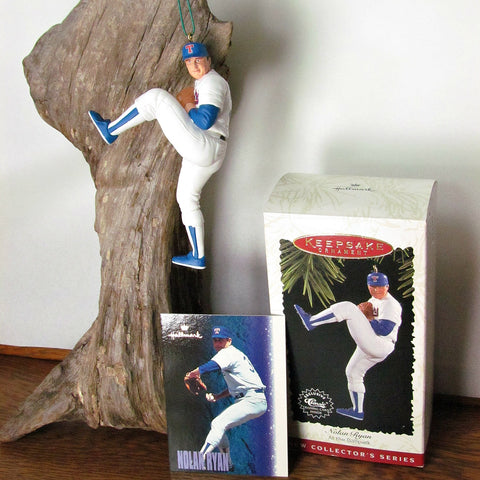 1996 Nolan Ryan Hallmark Figurine Ornament with Trading Card - Attic and Barn Treasures