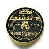 Vintage Oakville O.K. Paper Fasteners in Fiber Container c.1910s - Attic and Barn Treasures