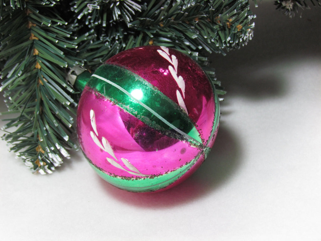Vintage Pink and Green Glass Christmas Ornament made in Poland - Attic and Barn Treasures