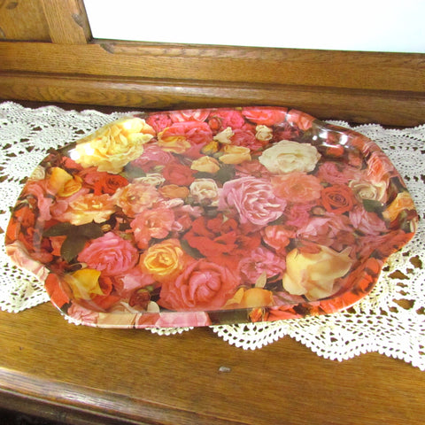 Vintage Metal Serving Tray with Multi Color Roses - Attic and Barn Treasures