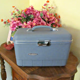 Vintage Sears Blandon Train Travel Case Medium Blue with Key - Attic and Barn Treasures
