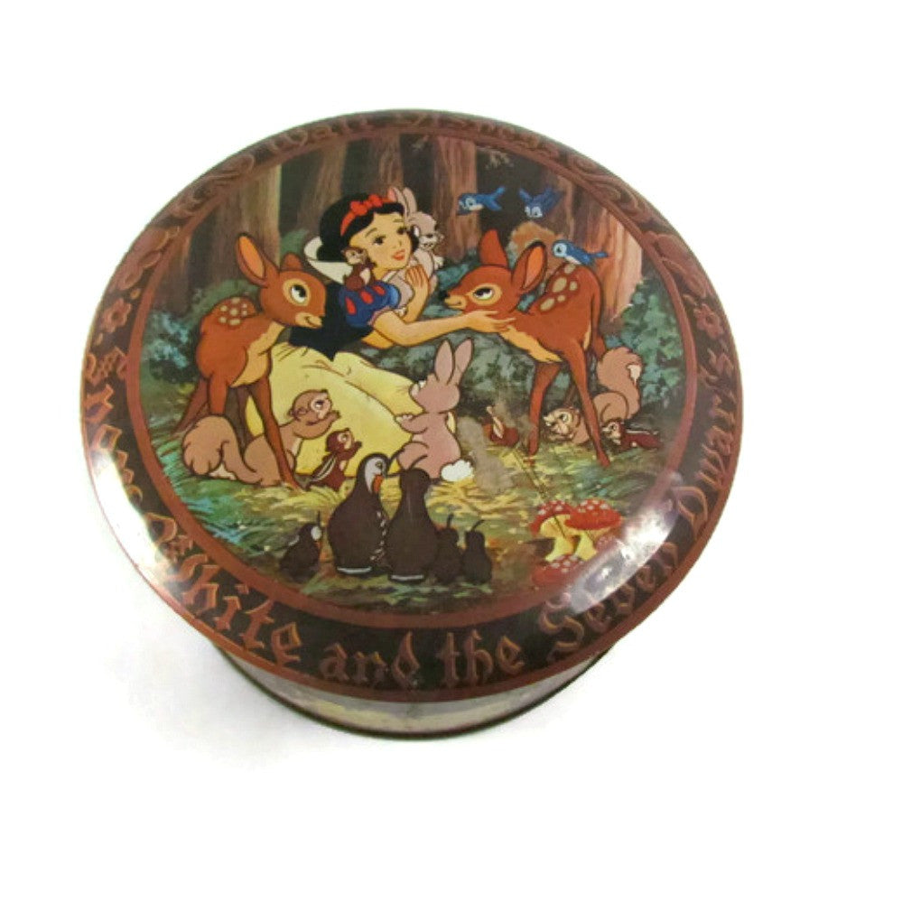 Vintage Snow White Round Metal Tin with Lid - Attic and Barn Treasures