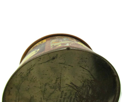 Vintage Snow White Round Metal Tin With Lid Attic And
