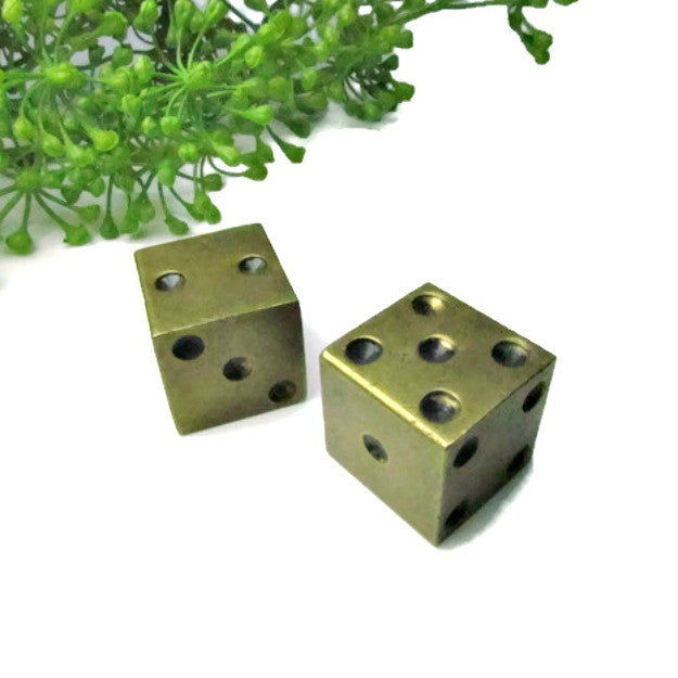Vintage Solid Brass Dice Pair - Attic and Barn Treasures