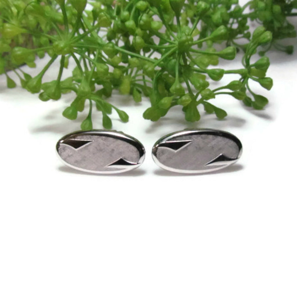 Vintage Swank Oval Silver Tone Cufflinks c.1960 Cuff Links - Attic and Barn Treasures