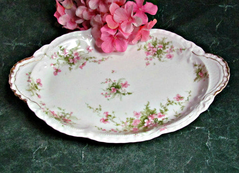 Antique Theodore Haviland Limoges France Pink Floral Oval Platter Gold Gilt - Attic and Barn Treasures