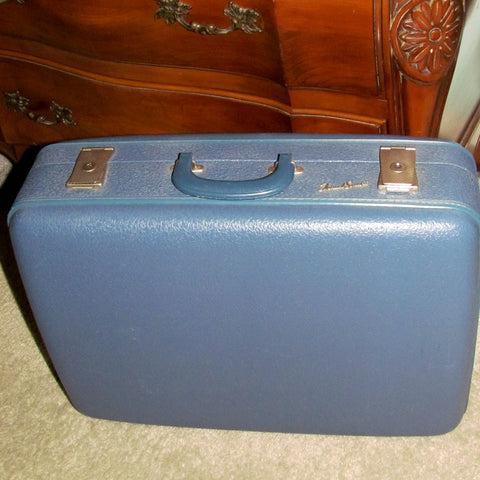 Vintage Travel Smart Medium Blue Suitcase Luggage - Attic and Barn Treasures