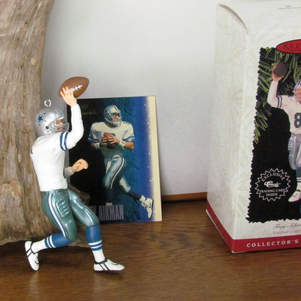 1996 Troy Aikman Hallmark Figurine Ornament with Trading Card - Attic and Barn Treasures