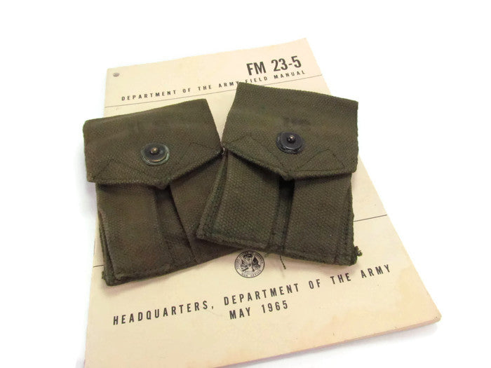 Vintage Vietnam Era 45 Caliber Magazine Pockets With Alice Clips - Attic and Barn Treasures