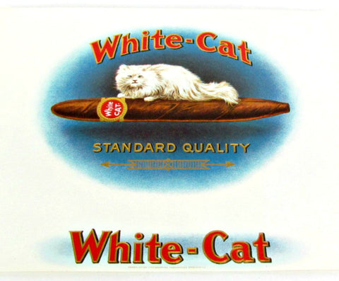 1920's Vintage Lithograph White Cat Cigar Box Label - Attic and Barn Treasures