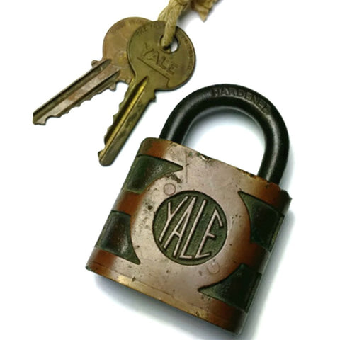 Vintage Yale and Towne Brass and Steel Lock with Keys - Attic and Barn Treasures