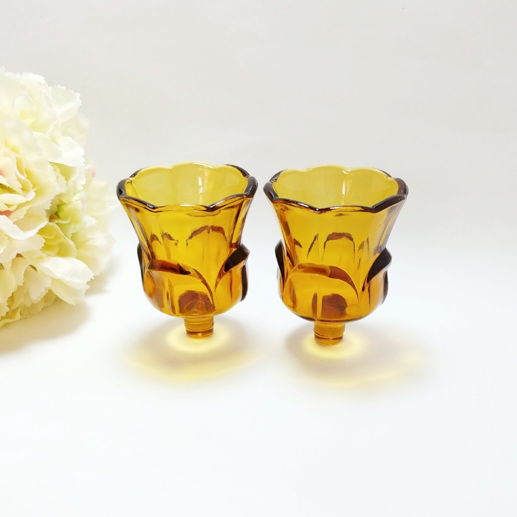 Heavy Amber Vintage Glass Candle Cups for wall sconces
