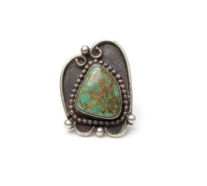 Unusual Vintage OOAK Turquoise Navajo Statement Ring Size 5 1/2 - Attic and Barn Treasures