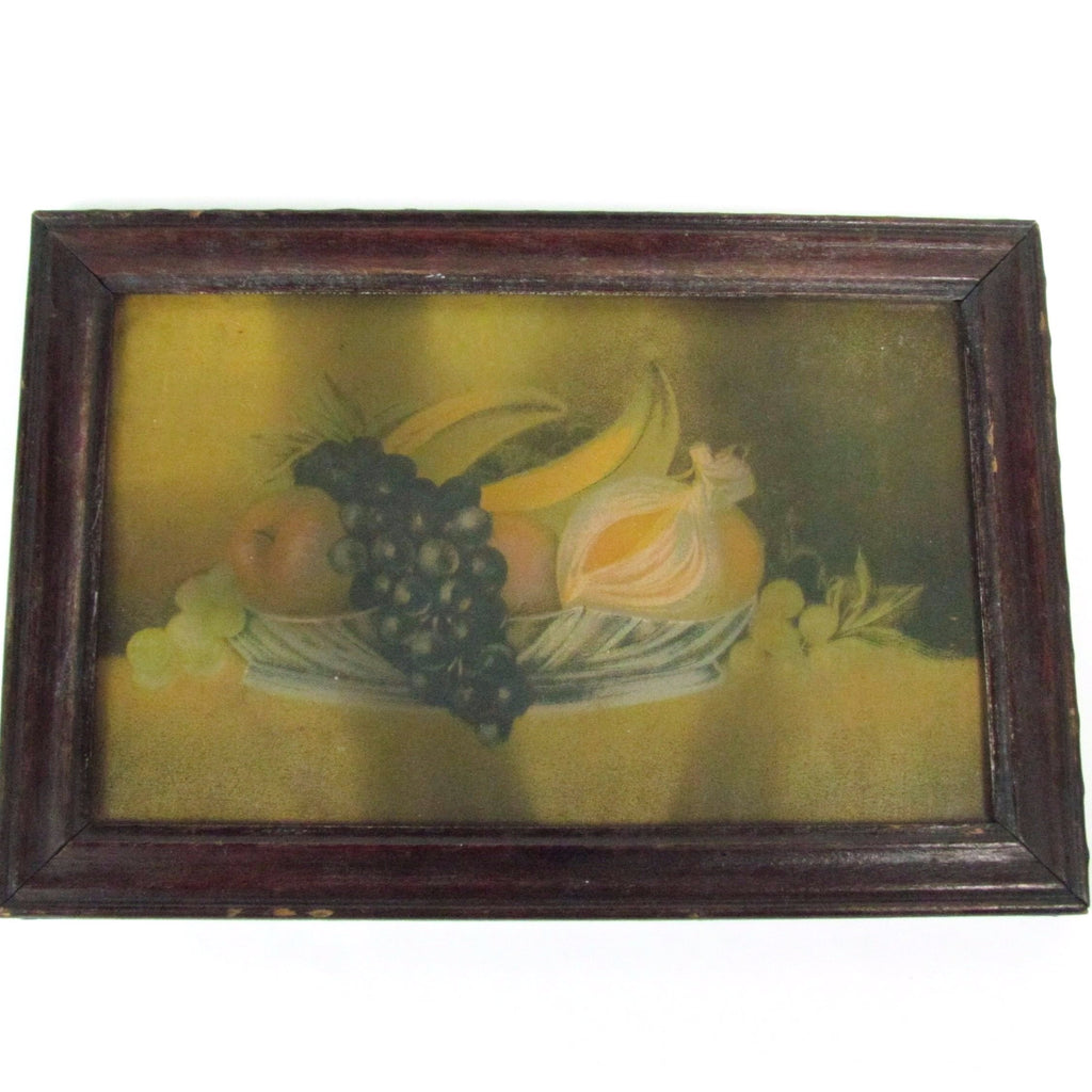 Small Antique Still Life Art Print with Original Wood Frame - Attic and Barn Treasures