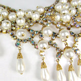 Vintage Aurora Borealis Rhinestone and Faux Pearl Waterfall Necklace - Attic and Barn Treasures