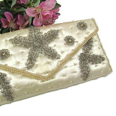 Vintage Beaded Satin Clutch Purse Ivory and Silver - Attic and Barn Treasures