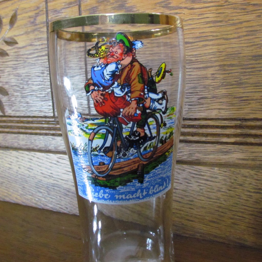 Vintage German Drinking Boot Stein Humorous Couple on Bicycle Love Makes You Blind - Attic and Barn Treasures