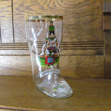 Vintage German Drinking Glass Boot Humorous Bad Weather Naughty - Attic and Barn Treasures
