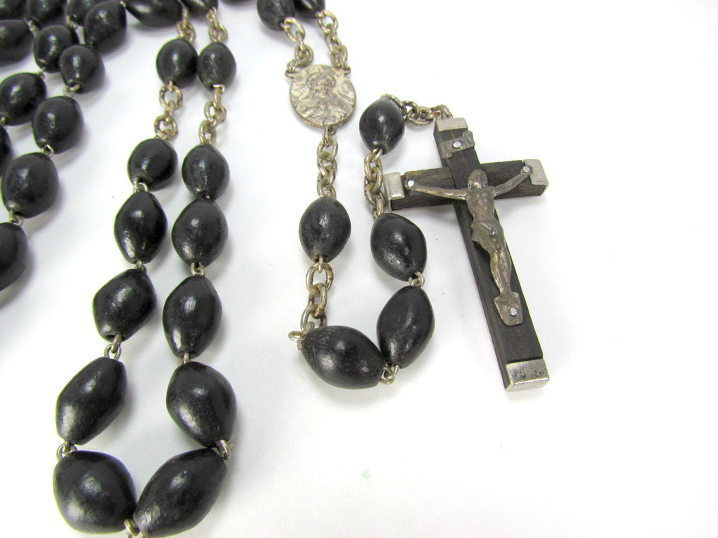 Vintage Italian Rosary with Black Wood Beads and Teak Wood Crucifix - Attic and Barn Treasures