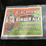 Vintage Paper Blackhawk Ginger Ale Label - Attic and Barn Treasures