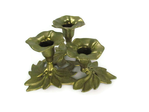 Solid Brass Vintage Three Tier Floral Candelabra from Italy - Attic and Barn Treasures